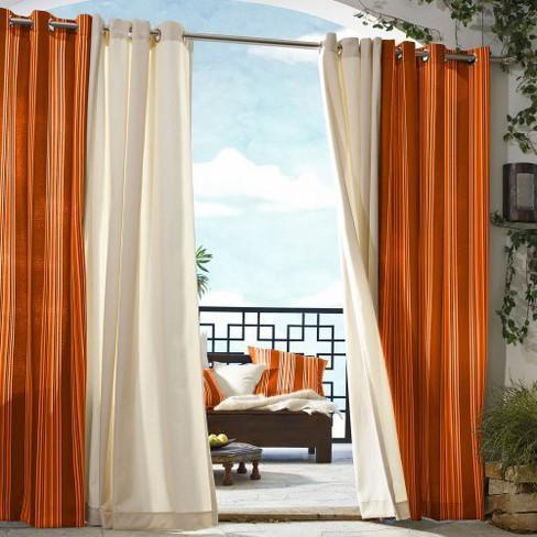 Outdoor Décor Gazebo Stripe Indoor Curtain Panel Rainbow 50 X96