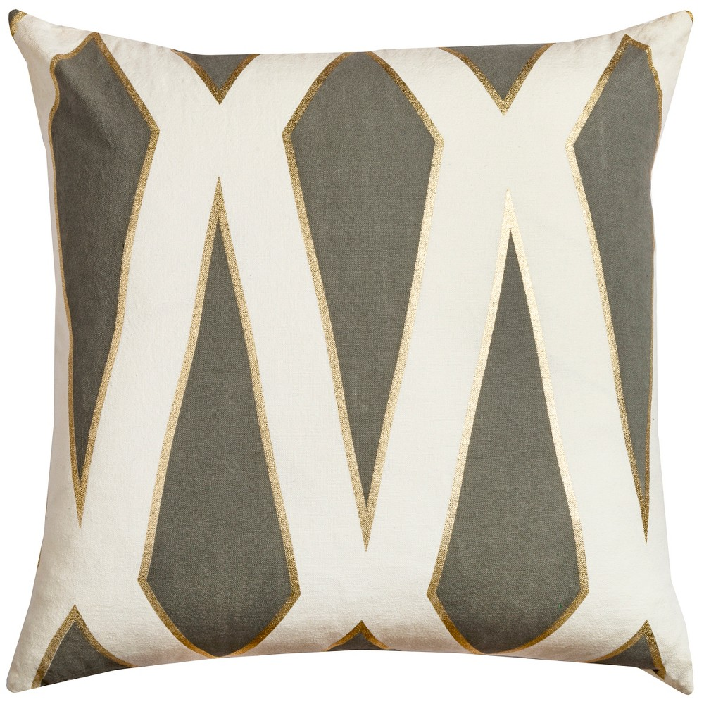 Image of Rizzy Home Geometric Throw Pillow Gray