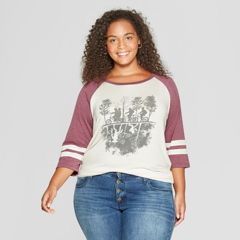 f3d5b06fca5 Women s Stranger Things 3 4 Sleeve Plus Size Upside Down Raglan Graphic T- Shirt (Juniors ) Burgundy