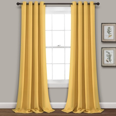 """Set of 2 (84""""x52"""")Insulated Grommet Top Blackout Curtain Panels Yellow - Lush Décor"""
