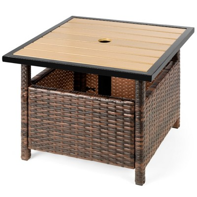 Best Choice Products Wicker Rattan Patio Side Table Outdoor Furniture for Garden, Pool, Deck w/ Umbrella Hole - Brown
