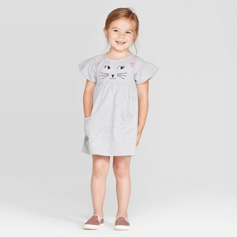 Toddler Girls' 'Cat' A Line Dress - Cat & Jack™ Gray - image 1 of 3