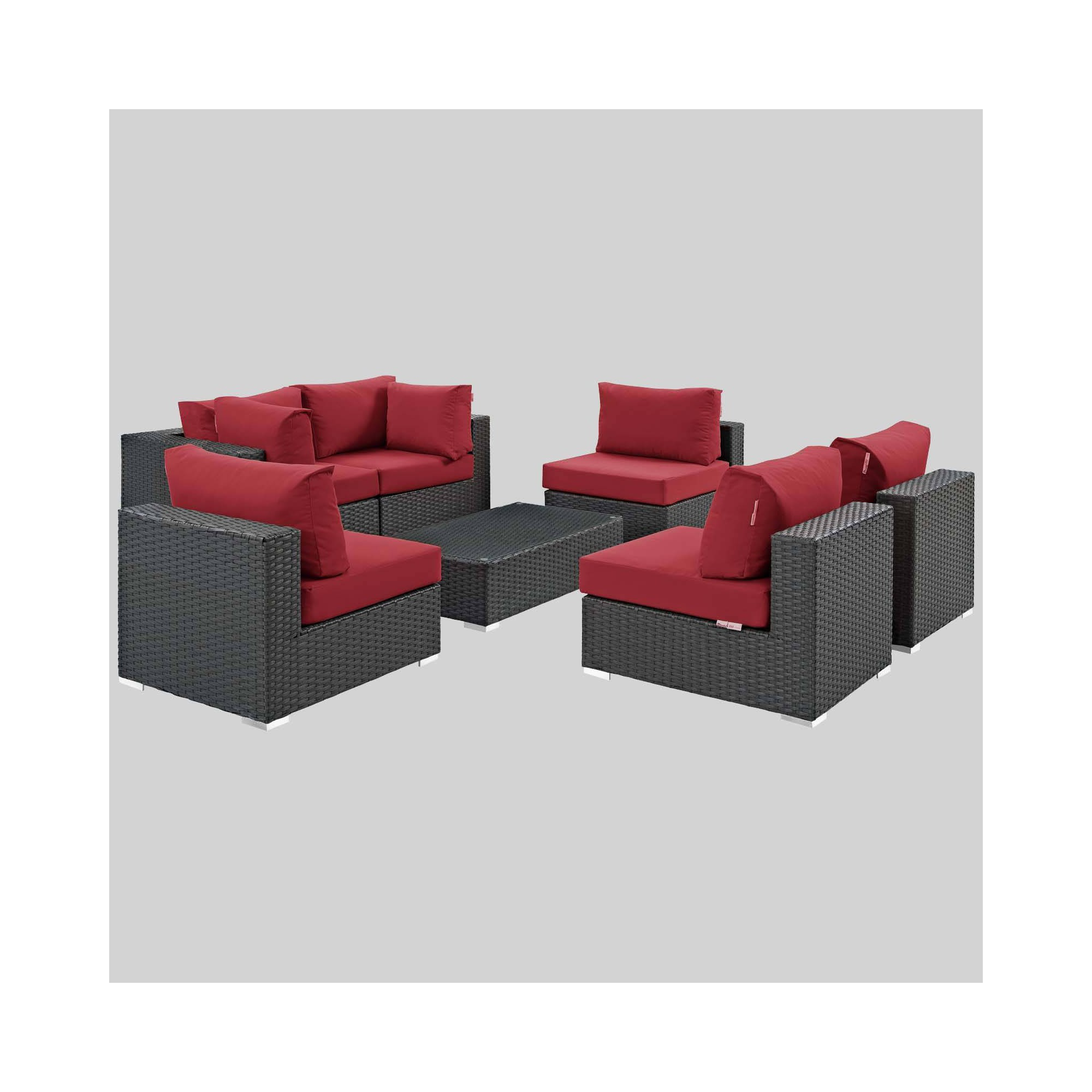 Sojourn 7pc Outdoor Patio Sectional Set with Sunbrella Fabric - Red - Modway