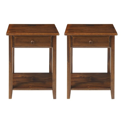Casual Home Soild Sustainably Sourced Wood Night Owl Bedside Nightstand With 4 Usb Charging Ports Top Drawer And Lower Shelf Warm Brown 2 Pack Target