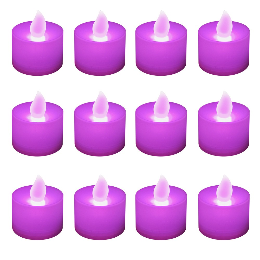Image of 12ct Battery Operated LED Tea Lights Purple
