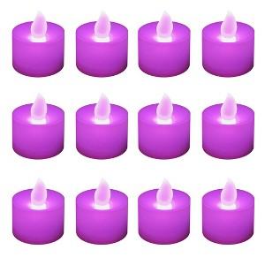 12ct Battery Operated LED Tea Lights Purple