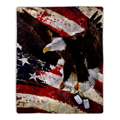 Sherpa Fleece Throw Blanket - American Flag Bald Eagle Print, Lightweight Hypoallergenic Bed Couch Plush Blanket for Adults and Kids by Hastings Home