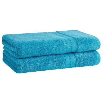 2pk Cotton Rayon from Bamboo Bath Towel Set Aqua - Cannon