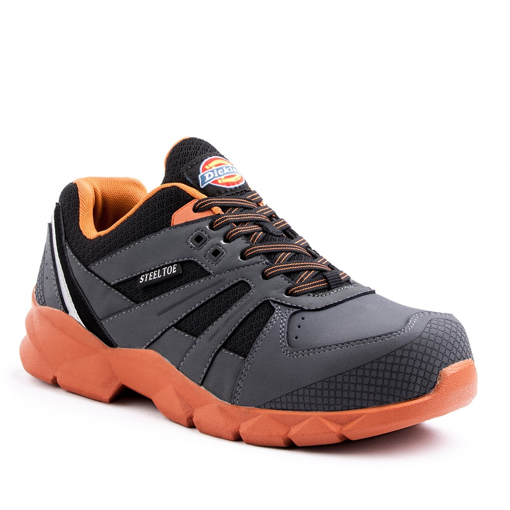 Men's Dickies Rook Work Shoe - Grey/Orange 10.5, Gray