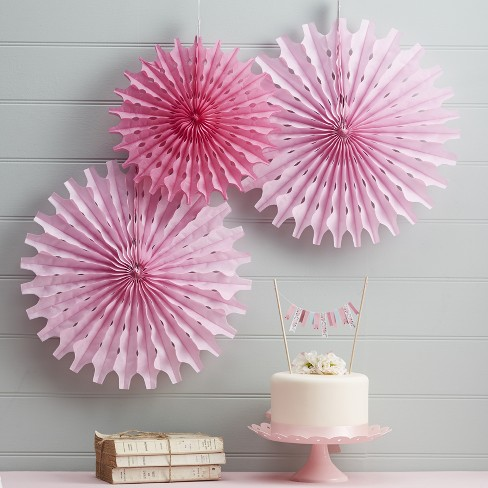 3ct Floral Fancy Tissue Fan Decorations Pink - image 1 of 2
