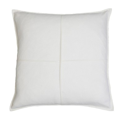 """20""""x20"""" Lincoln Mitered Square Throw Pillow White - Décor Therapy"""