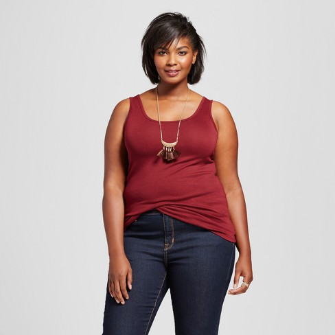 Women's Plus Size Perfect Tank - Ava & Viv™ Opulent Red 3X - image 1 of 2