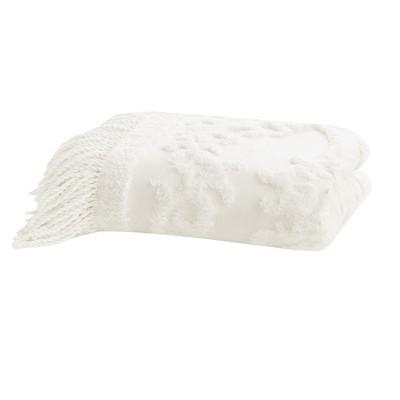 60 x50  Mila Cotton Tufted Throw Blanket Ivory