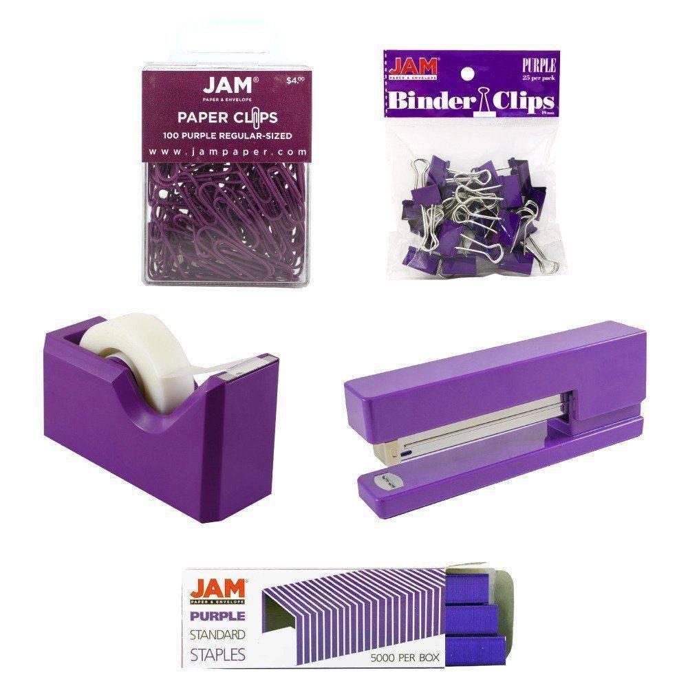 Image of JAM Paper 5pk Office Starter Kit - Purple