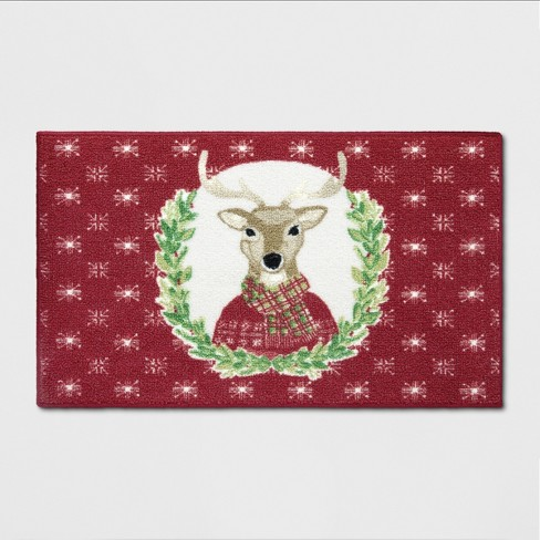 "1'8""x2'10""/20""x34"" Reindeer Tufted Accent Rug Red - Threshold™ - image 1 of 3"