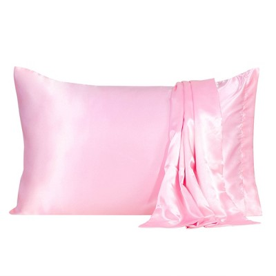 "2 Pcs 20""x30"" Silk Satin Envelope Pillow Cases Pink - PiccoCasa"
