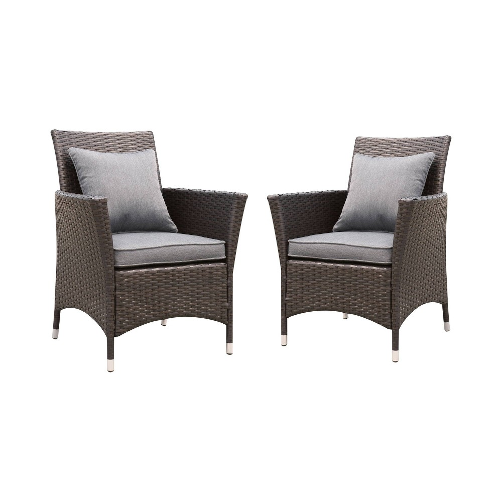 Set of 2 Chadwick All Weather Wicker Patio Arm Chair Gray - miBasics