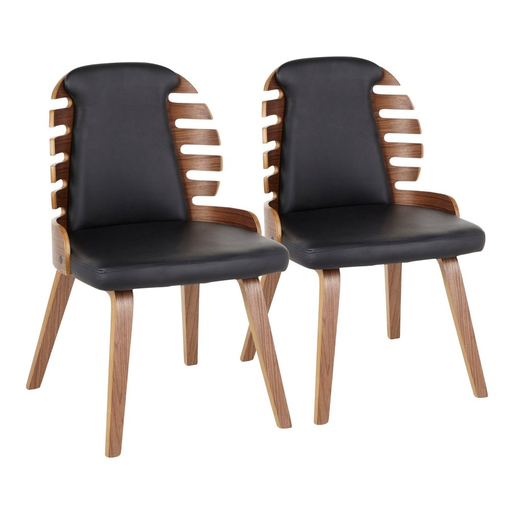 Set of 2 Palm Mid Century Modern Dining Chair Faux Leather Walnut/Black - LumiSource
