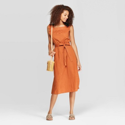 Women's Ruffle Sleeveless Square Neck Midi Dress - Universal Thread™ Orange L