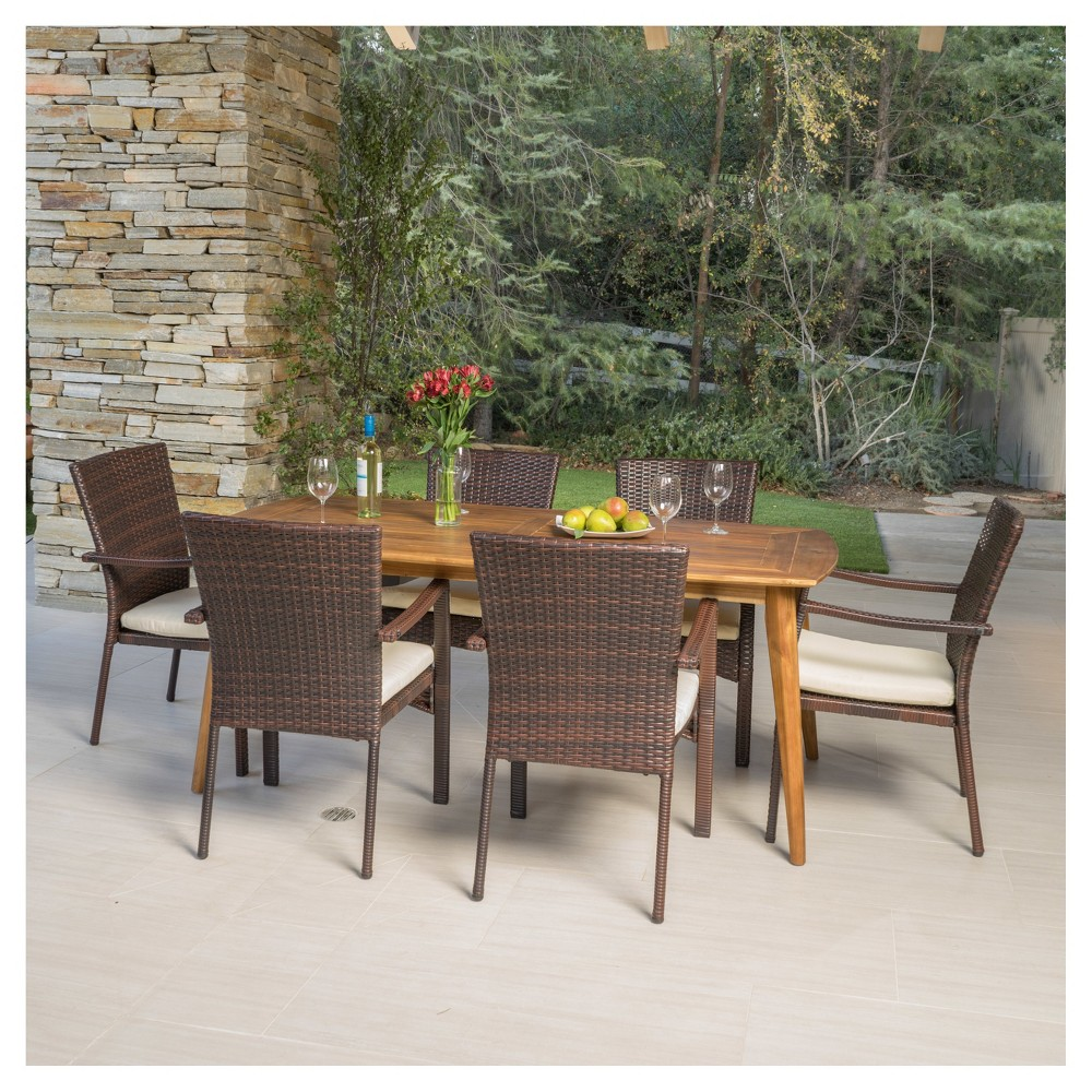 Talbot 7pc Rectangle Wood Patio Dining Set w/ Wicker Stacking Chairs - Teak (Brown) - Christopher Knight Home