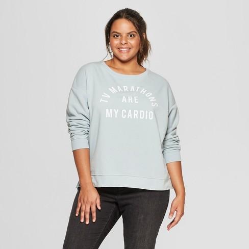 0849038c0fd Women s Plus Size TV Marathons Graphic Sweatshirt - Fifth Sun (Juniors )  Olive Green