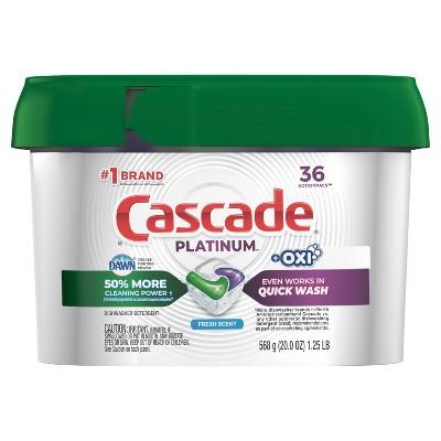 Cascade Platinum Action Pacs + Oxi Fresh - 36ct/20oz