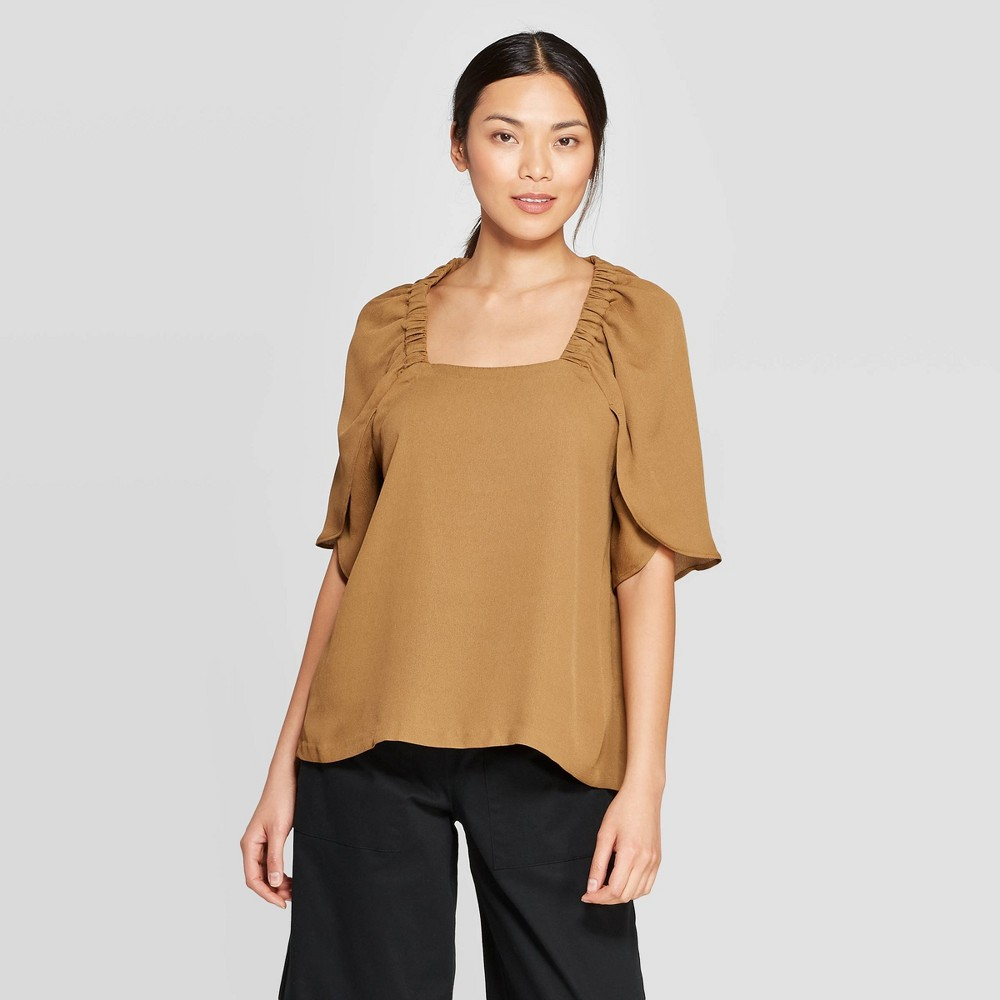 Best Online Women Flutter Elbow Sleeve Square Neck Blouse Prologue Brown XL Satinwood