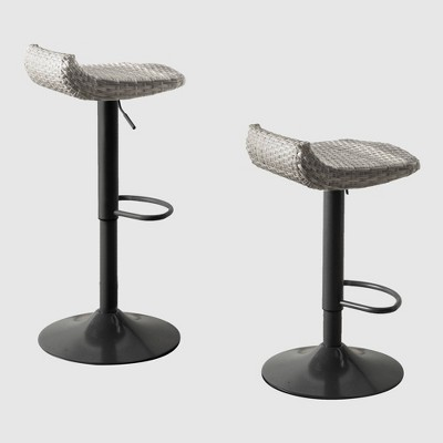 2pk All-Weather Wicker Patio Barstool Set Gray - RST Brands