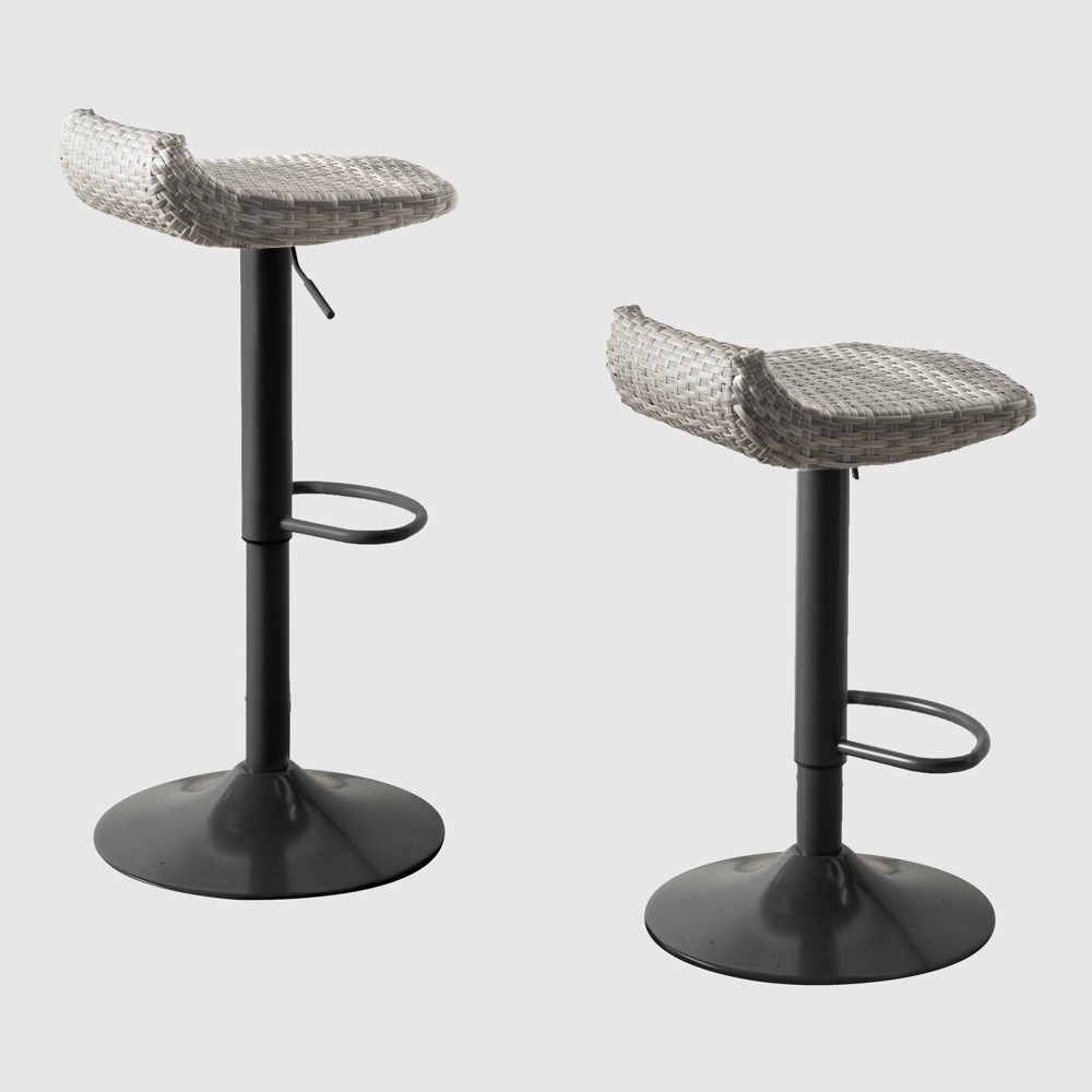 Image of 2pk All-Weather Wicker Patio Barstool Set Gray - RST Brands