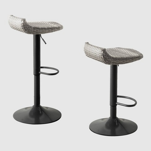 2pk All-Weather Wicker Patio Barstool Set Gray - RST Brands - image 1 of 3