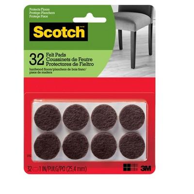 Scotch Felt Pads Brown Round 1  - 32pk