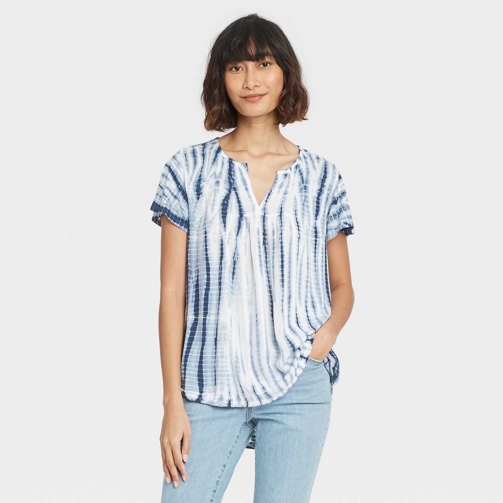 Women 39 S Tie Dye Short Sleeve V Neck T Shirt Knox Rose 8482 Blue M