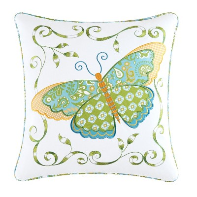 "C&F Home 18"" x 18"" Blue Butterfly Applique Pillow"