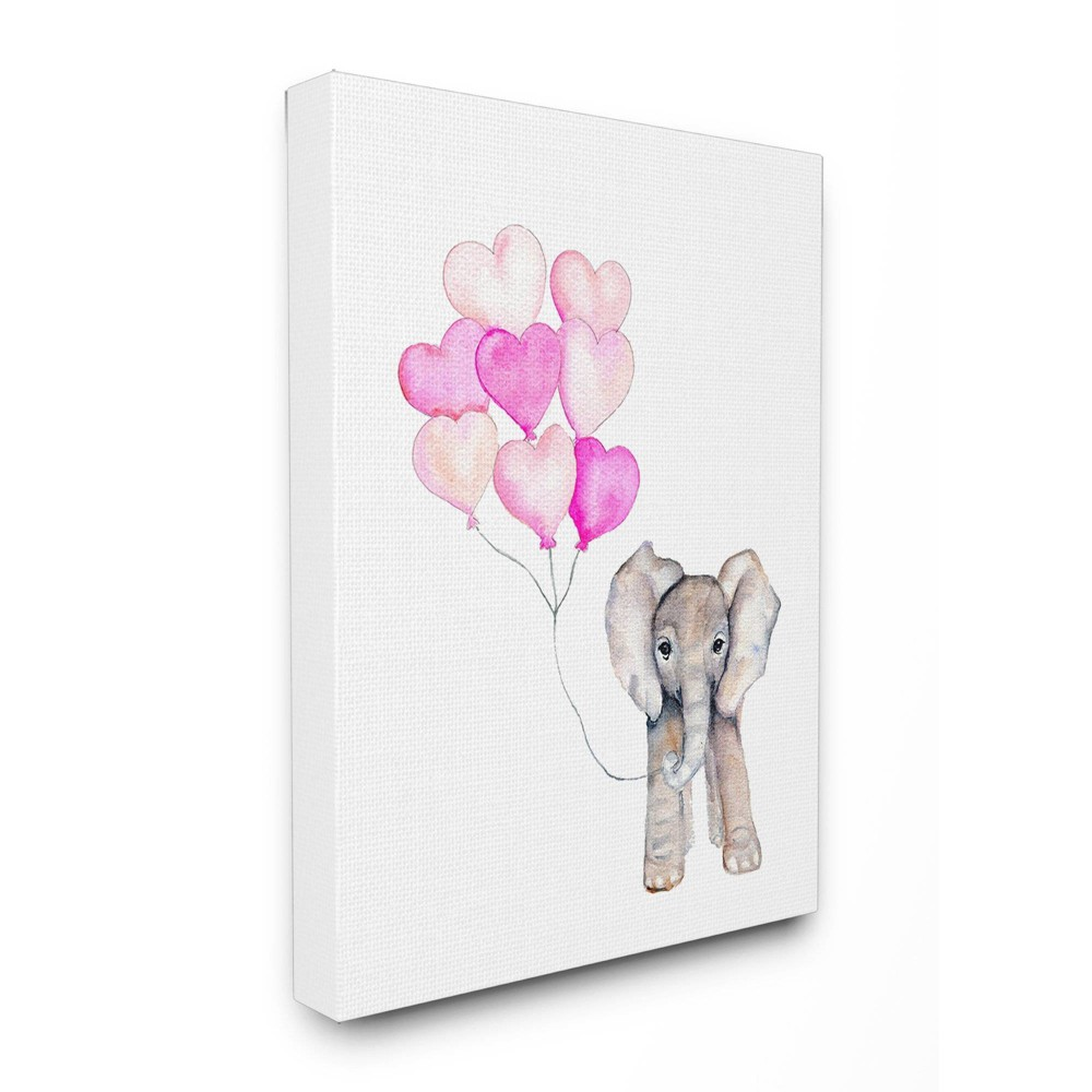 "Image of ""24""""x1.5""""x30"""" Baby Elephant with Pink Heart Balloons Oversized Stretched Canvas Wall Art - Stupell Industries"""