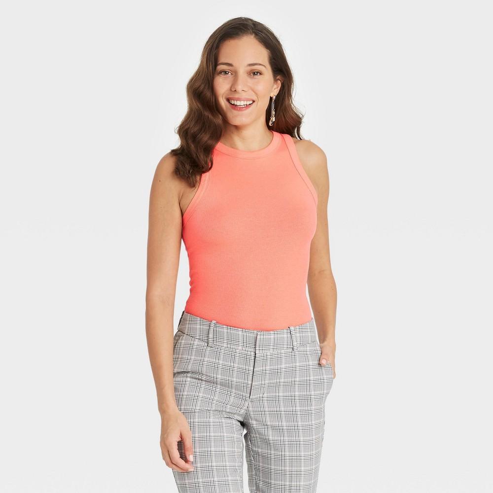 Women 39 S Tie Dye Slim Fit Rib Tank Top A New Day 8482 Peach Xl