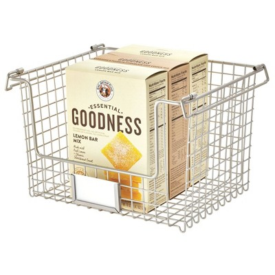 "iDESIGN 12""x10""x7.75"" Classico Stackable Basket Silver"