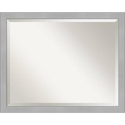 "31"" x 25"" Vista Brushed Framed Bathroom Vanity Wall Mirror Nickel - Amanti Art"
