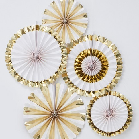 5pk Fan Party Decoration Gold/White - image 1 of 3