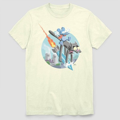 Men's Warner Bros. Itchy Scratchy Ride Missile Short Sleeve Graphic Crewneck T-Shirt - White
