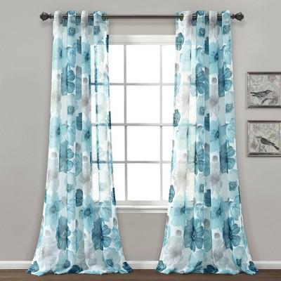 "Set of 2 (84""x52"") Leah Sheer Window Curtain Panels - Lush Décor"