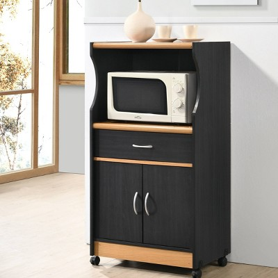 Kitchen Cart Black/Pale Cream - Hodedah