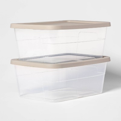 16qt Sweater Box with Spaceship Lid 2pk Gray - Room Essentials™