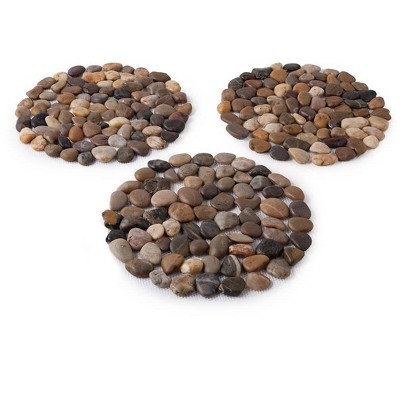 Wind & Weather Natural River Rock Stepping Stones, Set of 3