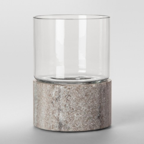 Glass and Marble Hurricane Candle Holder Small - Tan - Project 62™ - image 1 of 1