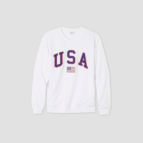 Women's USA Graphic Sweatshirt - White - image 1 of 1