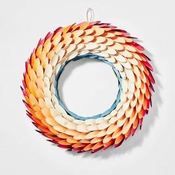 "17"" Wood & Feather Harvest Wreath - Spritz™"