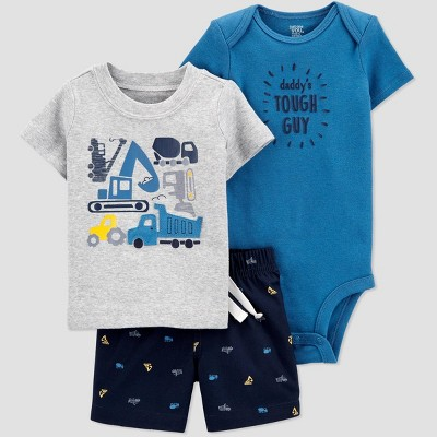 Baby Boys' Construction Top & Bottom Set - Just One You® made by carter's Gray/Blue 3M