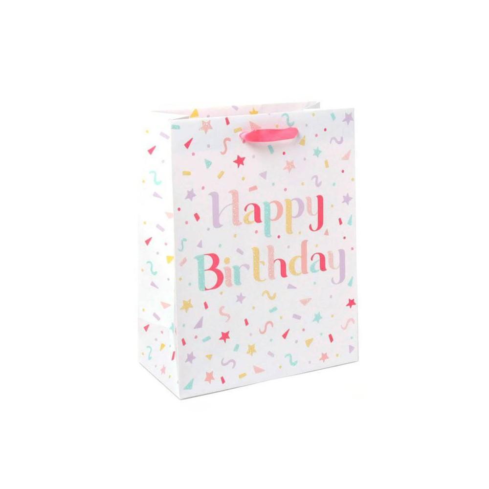 Medium Birthday Girl Gift Bag With Glitter Spritz 8482