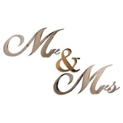 "9"" x 45"" Hand Painted 3D Wall Sculpture Mr And Mrs Gold and Nickel - Letter2Word"