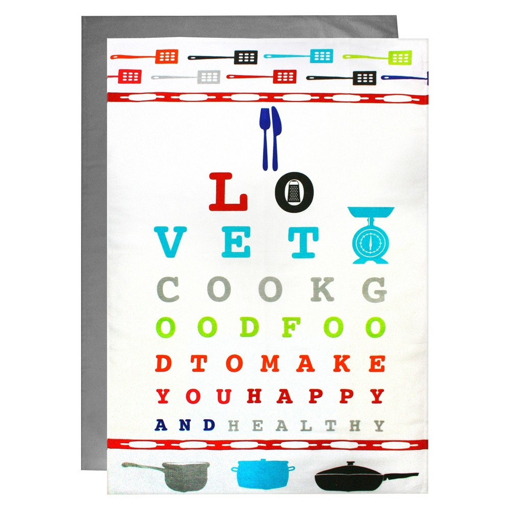 Cotton Printed Flour Sacks (Set Of 2 - 1 Print Eye Chart 1 Solid) - Mu Kitchen, Multi-Colored